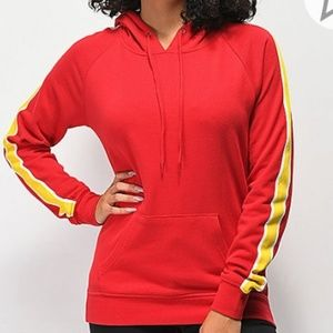 Red with yellow stripe hoodie